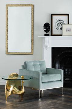 The Oly San Francisco Moore Lounge Chair Adds Classic Elegance With Marine  Mohair Upholstery. Available