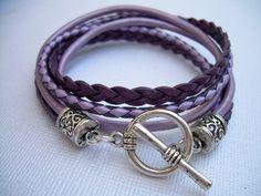Womens Leather Bracelet , Toggle Closure, Metallic Purple, Lavender, Pink,Violet, Double Wrap, | urbansurvivalgearjewelry - Jewelry on ArtFire