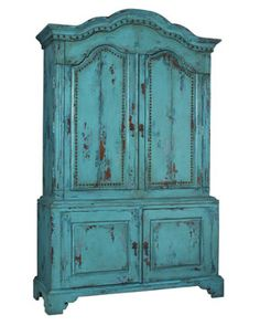 Rustic, dark turquoise armoire. Very smiliar to mine.  Now I just need to figure out how to make this a little more modern.