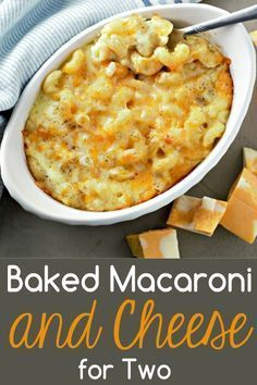 Baked Macaroni and Cheese for two is gooey, rich, creamy comfort food. I love th… Baked Macaroni and Cheese for two is gooey, rich, creamy comfort food. I love the look and texture of this cavatappi pasta but any pasta works great in this recipe. Macaroni And Cheese Recipe For Two, Macaroni Cheese Recipes, Single Serve Mac And Cheese Recipe, Mug Recipes, Gourmet Recipes, Cooking Recipes, Salad Recipes, Budget Cooking, Budget Meals