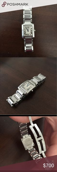 Cartier Tank Francaise Stainless Steel Watch This was my moms watch before passing so it isnt in the best shape. It definitely need some love. It has quite a few scratches on it, is not perfectly polished and the sapphire is missing. However everything works perfectly fine and you can not tell unless you look up close! The watch is still a beautiful piece of jewelry. Since she got it so long ago I was unable to find the links box and authentication papers. I have taken it to several…