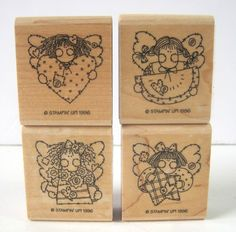 Stampin Up! Rubber Stamps Set of 4 Country Angels Year 1996 Discontinued #stampinup