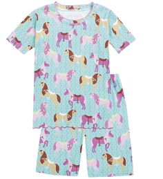 Cotton Ruffle Short Pajamas - Horse