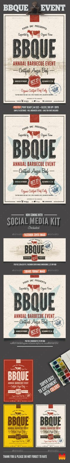 BBQ Event Flyer / Poster Template PSD #design Download: http://graphicriver.net/item/bbq-event-flyerposter/12838649?ref=ksioks