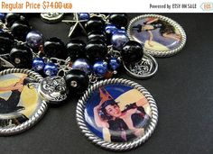 HALLOWEEN SALE Sexy Witch Bracelet. Halloween Bracelet Beaded with Pinup Girl Witch Charms. Handmade Halloween Jewelry. by Gilliauna from Bits n Beads by Gilliauna. Find it now at http://ift.tt/2dVnFj0!