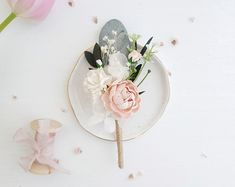 Beautiful floral boutonniere made with blush, white flowers, gypsophila, greens and preserved eucalyptus. These boutonnieres will be a nice memorable gift for your friends and guests. Flower Headpiece Wedding, Flower Crown Wedding, Wedding Hair Flowers, Bridal Flowers, Wedding Bouquets, Wedding Dresses, Blue Boutonniere, Groomsmen Boutonniere, Boutonnieres