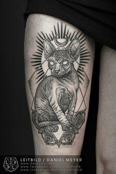 #tattoo #tatuagem #ink #inked #bodymodification #alineymarques #cat #blackandwhite