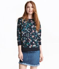 Check this out! Top in lightweight sweatshirt fabric with printed design. Dropped shoulders, long sleeves, and ribbing at cuffs and hem. - Visit hm.com to see more.