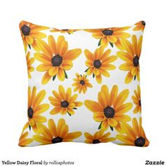 Shop Yellow Daisy Floral Throw Pillow created by rollosphotos. Floral Throws, Floral Throw Pillows, Funny Pillows, Gadget Gifts, Pillow Sale, Custom Pillows, Knitted Fabric, Daisy, Make It Yourself