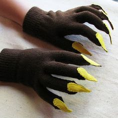 """COSTUME - Makeover some inexpensive gloves by stitching on some felt fingernails. You could do this with """"french manicure"""" felt nails for a little girl's winter gloves. Holidays Halloween, Halloween Kids, Halloween Crafts, Halloween Party, Halloween Decorations, Creepy Halloween, Gruffalo Costume, Bear Costume, Werewolf Costume Diy"""