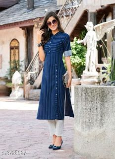 Striped Rayon Kurtas from Stf Store Simple Kurta Designs, New Kurti Designs, Kurta Designs Women, Kurti Designs Party Wear, Salwar Designs, Blouse Designs, Kurti Sleeves Design, Kurta Neck Design, Sleeves Designs For Dresses