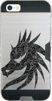 coque Iphone SE armor Black Silver Damasks