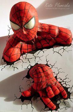 Spiderman by Kate Plumcake Spiderman Birthday Cake, Superhero Spiderman, Superhero Party, Batman Party, Marvel Avengers, First Birthday Activities, Novelty Birthday Cakes, Character Cakes, Boy Birthday Parties