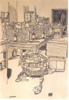 """Packing Room"", 1917, Egon Schiele."