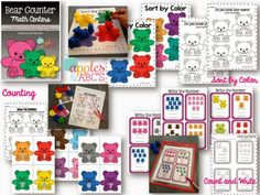 Kids LOVE using manipulatives during math time and I LOVE teaching with them. I had a ton of these math bear counters in my room, but didn. Math Classroom, Kindergarten Math, Preschool, Eyfs Activities, Learning Activities, Math Counters, Counting Bears, Daily Math, Folder Games