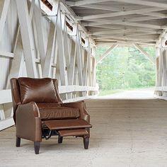 Alex Leather Recliner In Old West Sandalwood   Arhaus