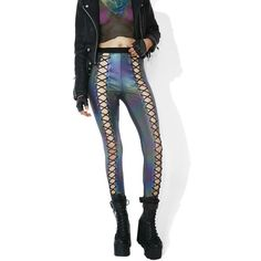 Club Exx Oil Slick Holographic Nancy Corset Leggings ($45) ❤ liked on Polyvore featuring pants, leggings, high waisted shiny leggings, white high waisted leggings, white pants, pull on pants and white leggings