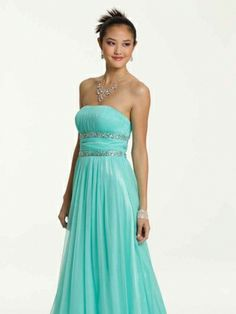 A-line Strapless Tulle Ankle-length Sleeveless Ruffles Evening Dresses at Millybridal.com