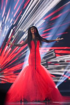 Pin for Later: Which Performer Was Best Dressed at the Eurovision Song Contest? Aminata from Latvia We Will Rock You, Nice Dresses, Formal Dresses, Stage Outfits, Birthday Bash, Photo Galleries, Year 9, Songs, Popsugar