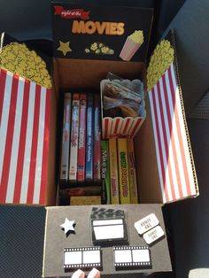 The Movie Night Care Package | 16 Care Packages That Any College Kid Would Love. LOVE THIS IDEA!