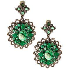 Bavna Emerald & Champagne Diamond Drop Earrings (221.275 RUB) ❤ liked on Polyvore featuring jewelry, earrings, geometric jewelry, emerald jewelry, emerald diamond earrings, champagne diamond jewelry and post earrings