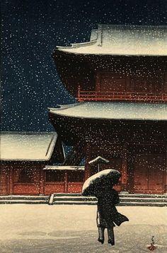 Hasui Kawase. \\ Zojoji in the snow, 1922