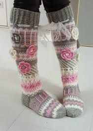 Long wool women ladies socks, Anelmaiset socks, warm winter knitted over the knee socks, striped, colourful knee length / high socks prefer without extra roses. Thigh High Boots Heels, Knee High Socks, Heel Boots, Crochet Gifts, Knit Crochet, Cosy Outfit, Knit Boots, Slipper Socks, Boot Cuffs