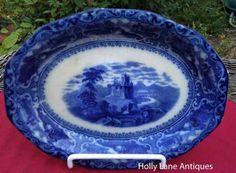 flow blue patterns   Antique Flow Blue Oval Platter Watteau Pattern