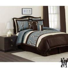 Cocoa Flower 8-pc Blue Comforter Set Queen
