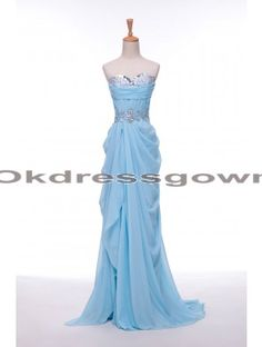 affordable tiffany blue sweetheart chiffon long prom dress with beads