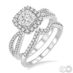 This lovebright diamond wedding set makes a profound statement about your commitment to her.  #swansondiamondcenter #engagementring #whitegold