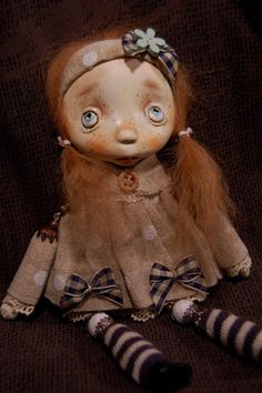 Art doll brootch..Nina'' OOAK by ppinkydollsart on Etsy