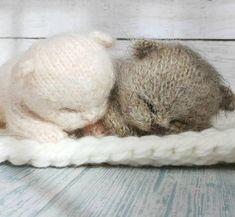 Knitted Cat, Knitted Animals, Knitted Dolls, Crochet Cats, Animal Knitting Patterns, Stuffed Animal Patterns, Knit Patterns, Sleeping Bunny, Cute Toys