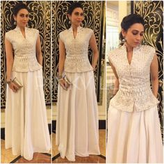 Latest party wear white dress collection 2017 2018 for women 21 Indian Gowns Dresses, Indian Fashion Dresses, Indian Designer Outfits, Designer Dresses, Look Fashion, Skirt Fashion, Fashion Outfits, Fashion Weeks, Kurti Designs Party Wear