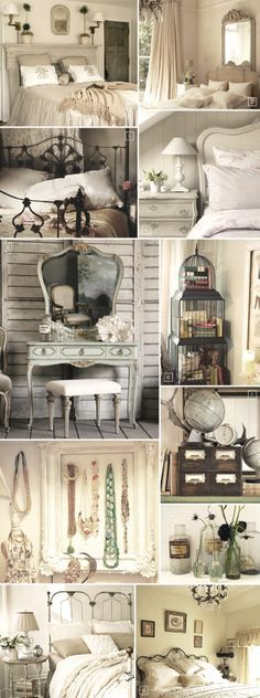 """Vintage Bedroom Decor Accessories and Ideas - Probably too """"girly"""" for my husband, but I love these! Besides, it's not like he actually cares how the bedroom is decorated!"""