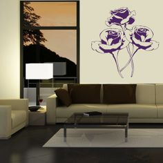 living room idea roses painted wall design wall decal walldesign walldecal livingroom
