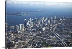 Solid-Faced Canvas Print Wall Art Print entitled Aerial view of Miami Florida Sunshine, Wall Art Prints, Canvas Prints, Drip Painting, Urban Planning, Aerial View, San Francisco Skyline, New York Skyline, Miami