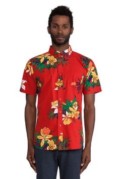 Second Outfit: Part 1 of 2  Obey Tourist Button Down in Red