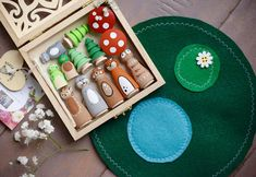Super Adorable Woodland Themed Play Set with Gift Box and Felt Play Mat! (Use caution with children that still put toys in their mouth - small pieces!) This Set is great for pretend play, in a woodland themed nursery and also makes a great gift for anybody that loves forest animals.
