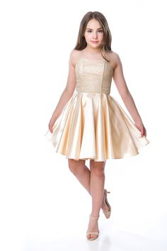 Need the right party dress for her next big event? This is a fit and flare in a classic gold sequin and satin. Girls Dresses Tween, Cute Little Girl Dresses, Preteen Girls Fashion, Young Girl Fashion, Cute Girl Outfits, Girls Fashion Clothes, Pretty Dresses, Girls Dance Costumes, Dance Outfits
