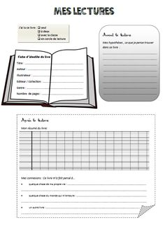 fiche de lecture French Teacher, French Class, Teaching French, Education Issues, French Education, French Resources, Literacy Stations, Book Study, Readers Workshop