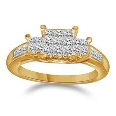 14K Yellow Gold Ladies Princess Cut 3 Stone Diamond Engagement Band Ring 1/2 Ct #Affinityhomeshopping #ThreeStone