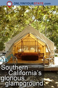 Here are some of the best places to go 'glamping' in California, from El Capitan Canyon in Santa Barbara to Tinker Tin Trailer Pond in Paso Robles. California Camping, California Attractions, Southern California, California Coast, California Vacation, Pismo Beach, Camping Places, Camping Spots, West Coast Usa