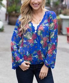 Another great find on #zulily! Royal Blue Floral Silk-Blend Tie-Back Top by Pinkblush #zulilyfinds