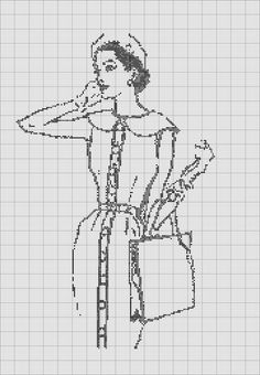 0 point de croix femme élégante - cross stitch elegant lady