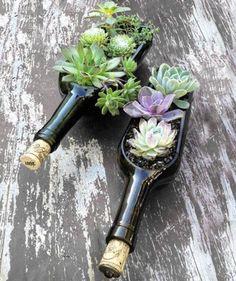alte glasflaschen-als blumenkübel-verwenden ideen-umweltfreundlich