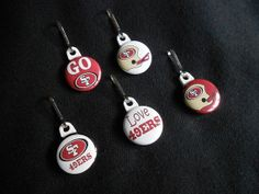 Set of 5 49ers Zipper pulls. Perfect on a by GrandmasBowsonETSY, $7.00