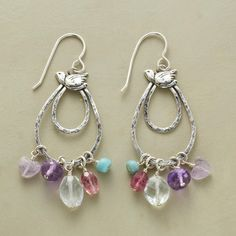 "DOVE SONG EARRINGS -- A sterling silver dove flies above hand-hammered sterling hoops glimmering with the sparkle of faceted tourmaline, aquamarines and amethyst. Sterling silver wires. By Jes MaHarry. USA. Exclusive. 2-1/8""L."