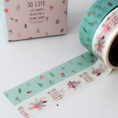 2 Rolls Washi Adhesive Tape Decorative Kawaii - Delicate Florals - Pastel Pink and Mint - Poppy - Poppies - Life Sentiment by TheSupplyHaven on Etsy