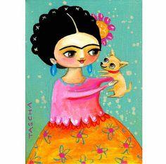 Frida Kahlo Chihuahua cachorro folk art PRINT de una por tascha